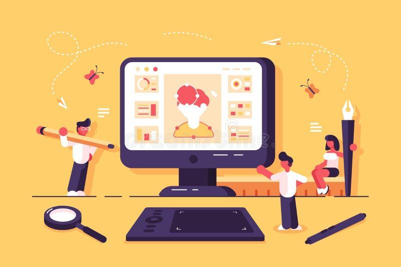 Webspecialisten die in ontwerpstudio werken stock illustratie