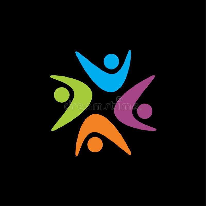 Webstar kształta logo, społeczność logo, ludzki logo, dobroczynność logo ilustracji