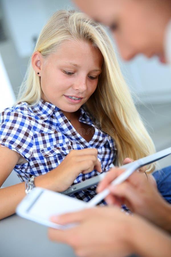 websurfing在互联网上的青少年女孩 库存图片
