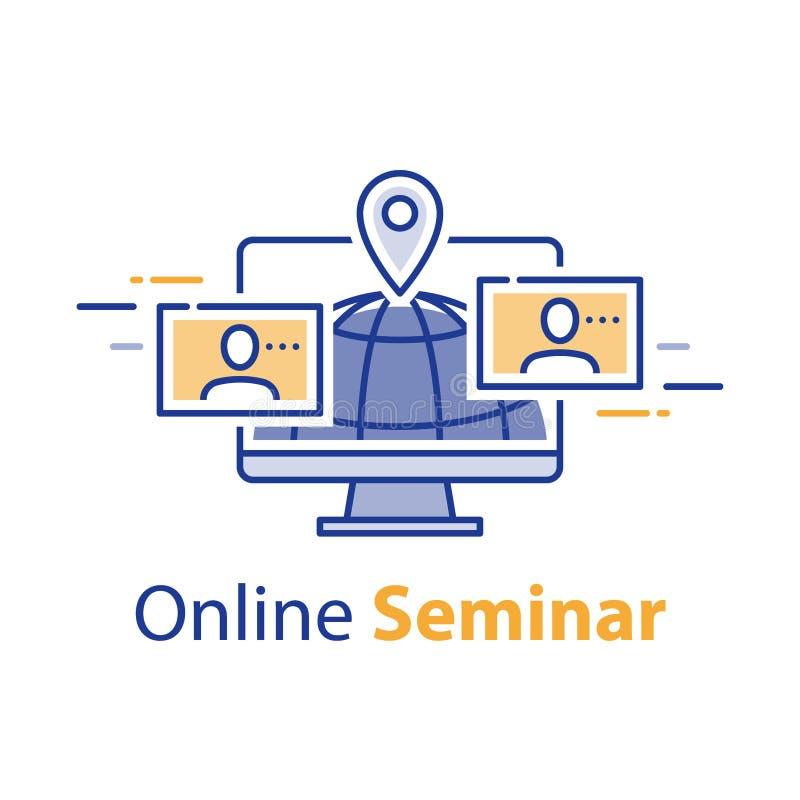 Webvergadering, webinar concept, online mededeling, Internet-seminarie, het verre leren, het freelance werk vector illustratie