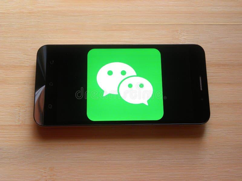WeChat app royaltyfri bild