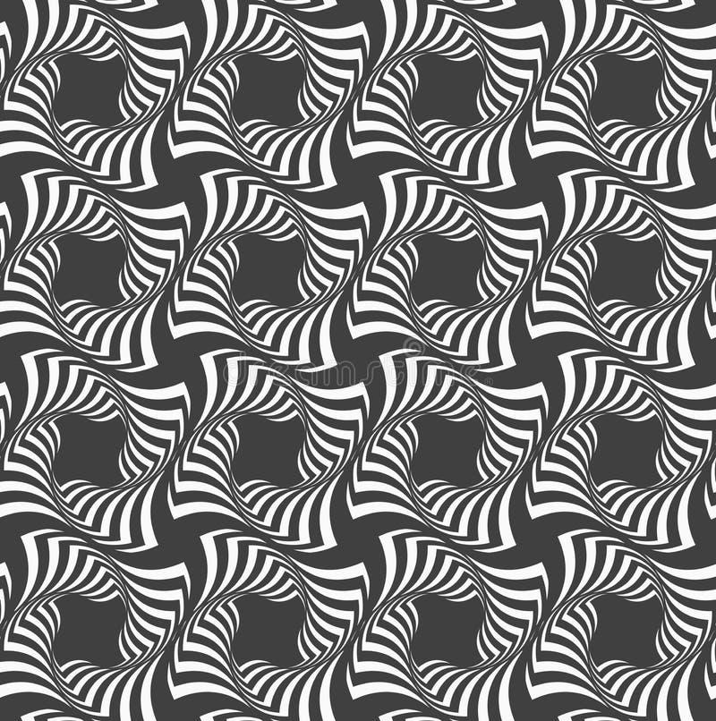 Wechselnde gewellte gestreifte Schwarzweiss-Kreuze in der Reihe vektor abbildung
