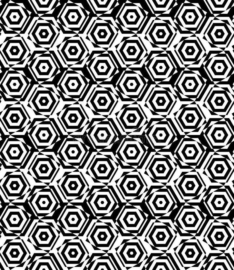 Wechselnde kleine Schwarzweiss-Quadrate geschnitten durch Hexagone stock abbildung