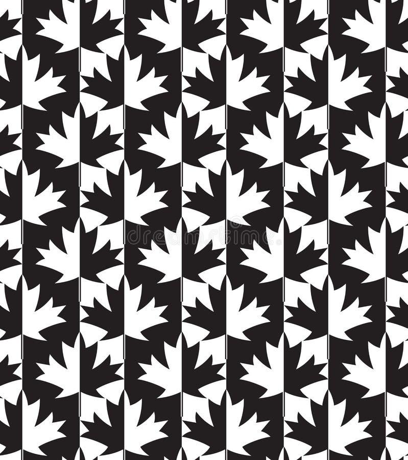 Wechselnde Schwarzweiss-Ahornblätter halb und halb vektor abbildung