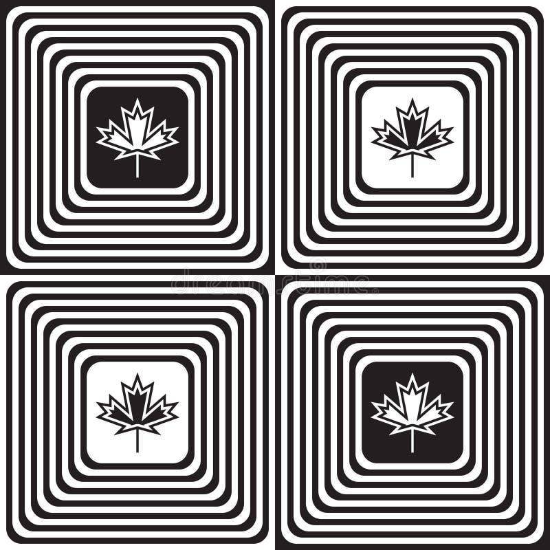 Wechselnde Schwarzweiss-Quadrate mit Ahornblättern stock abbildung