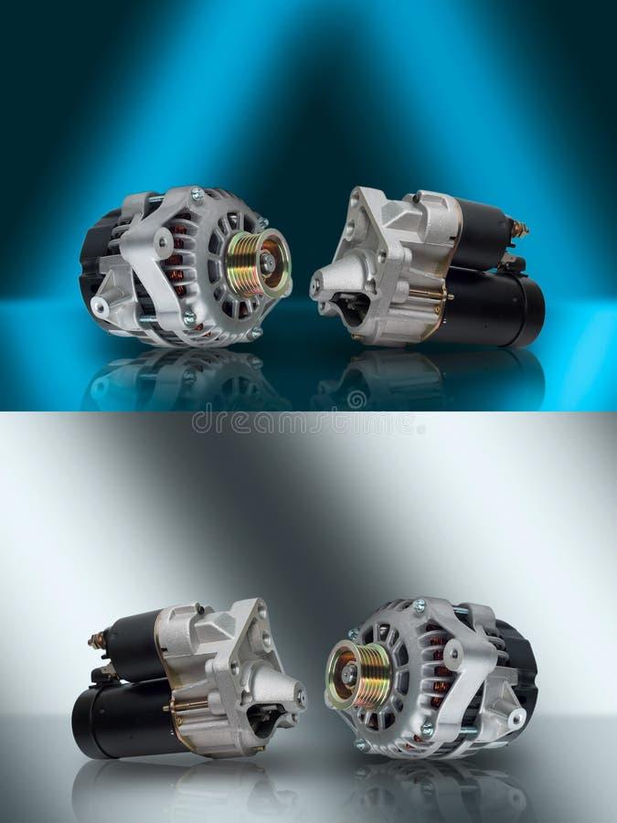 wechselstromerzeuger starter Generator und Starter Autogesamtheiten Lichtmaschine und Starter für Auto Elektrische Einheiten für  lizenzfreies stockbild