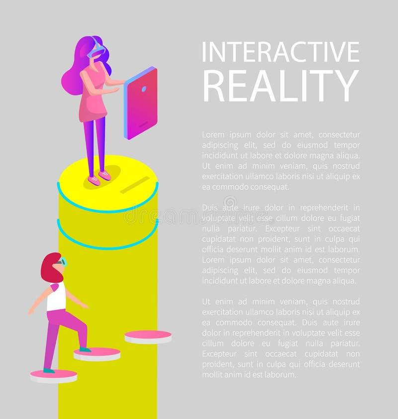 Wechselwirkende Karikatur-Vektor-Fahne der virtuellen Realität lizenzfreie abbildung