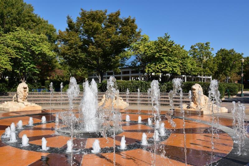 Wechselwirkender Brunnen an Coolidge-Park in Chattanooga, Tennessee stockfotos