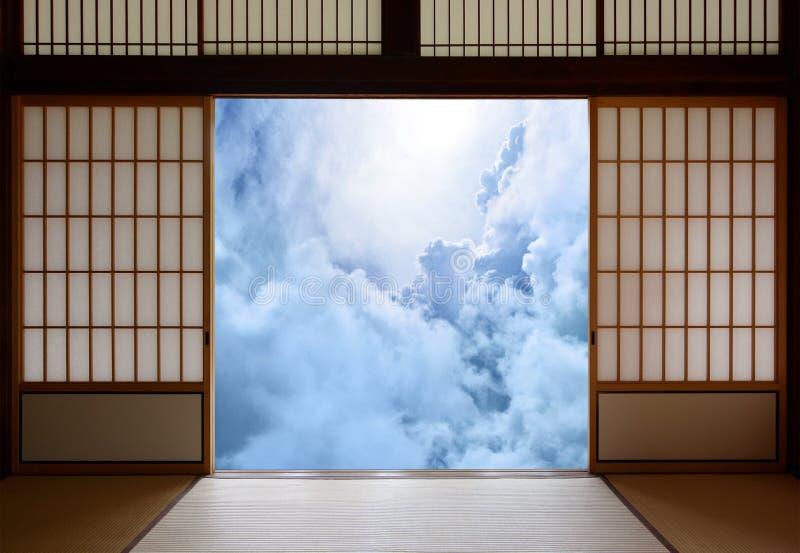 Wecken der Angelegenheiten und Aufklärungskonzept des neuen Zeitalters mit einem japanischen Buddhismusthema stockbilder