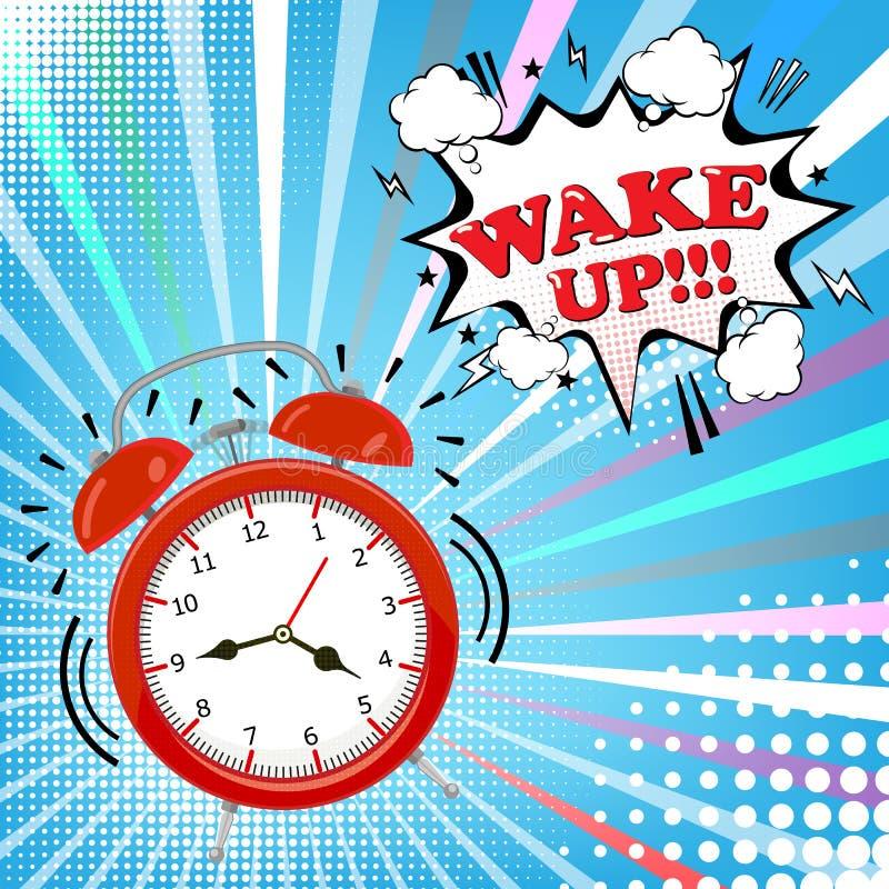 Wecker mit komischer Blase mit wachen Wort auf Halbtonhintergrund auf Retro- Pop-Arten-Art Auch im corel abgehobenen Betrag stock abbildung