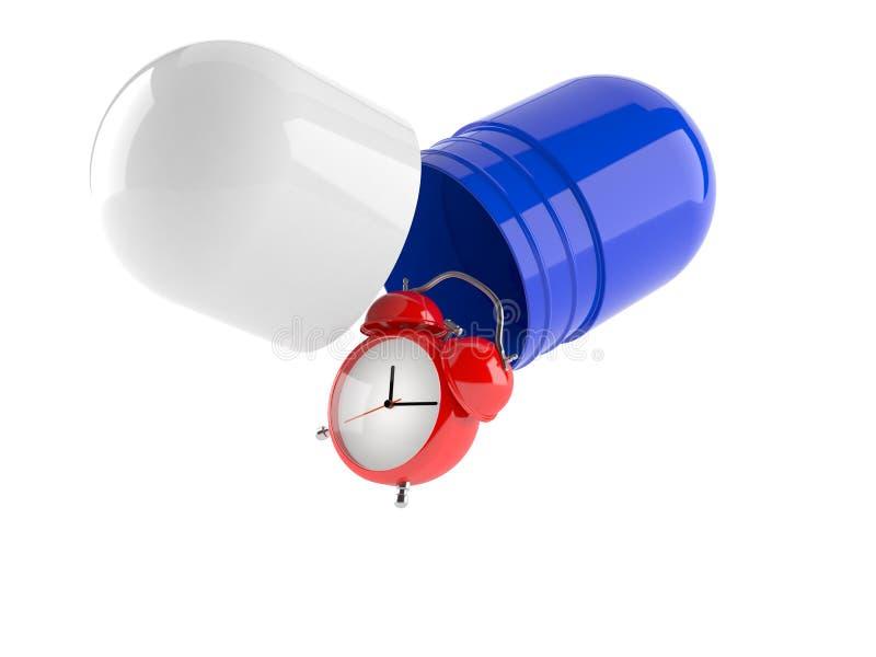 Wecker mit Pille stock abbildung