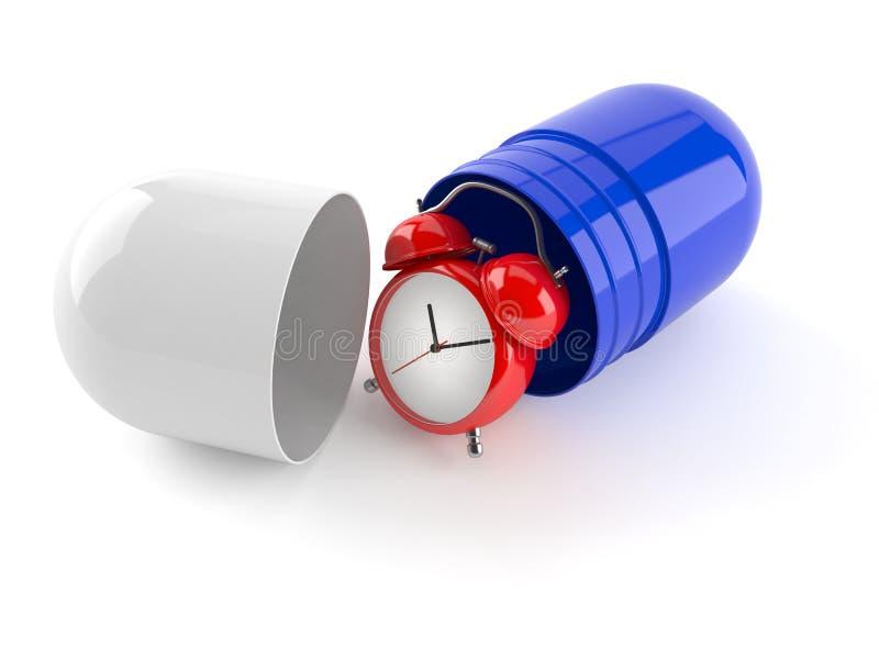Wecker mit Pille lizenzfreie abbildung