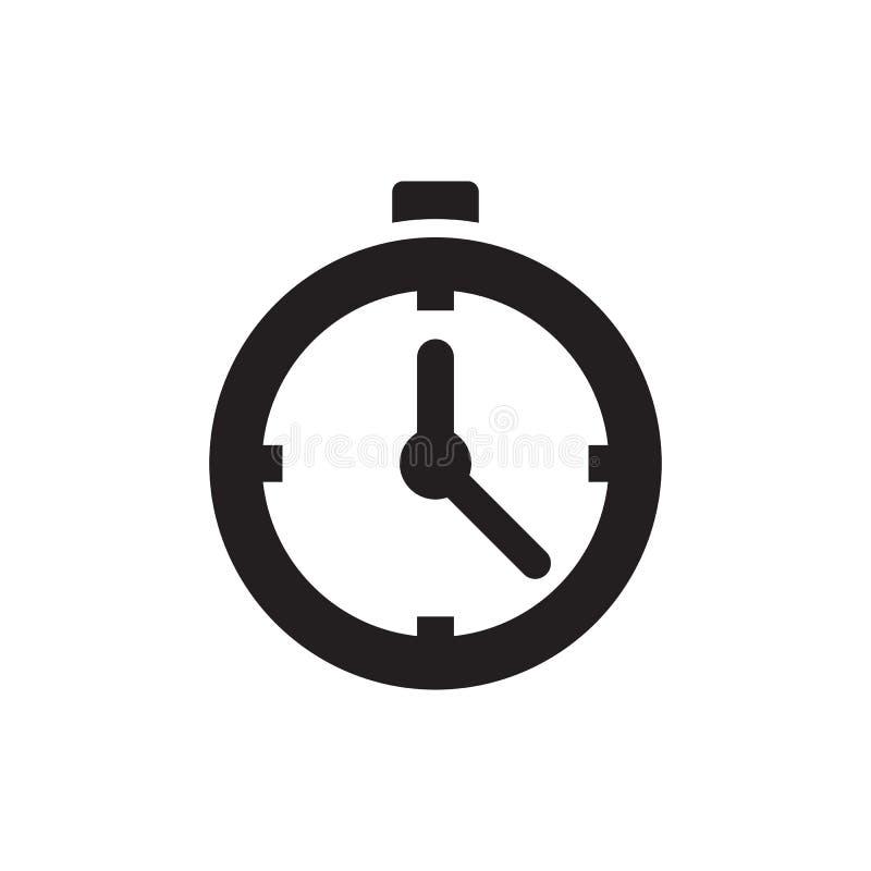 Wecker - schwarze Ikone auf weißer Hintergrundvektorillustration für Website, bewegliche Anwendung, Darstellung, infographic Zeit vektor abbildung