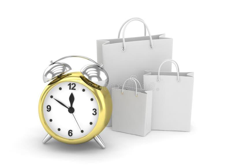 Wecker und Einkaufstasche (Zeit, Konzept zu kaufen stock abbildung