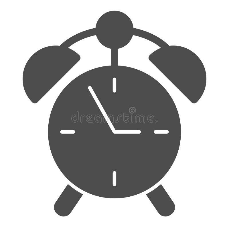 Weckerk?rperikone Uhrvektorillustration lokalisiert auf Wei? Zeit Glyph-Artdesign, bestimmt f?r Netz und APP vektor abbildung