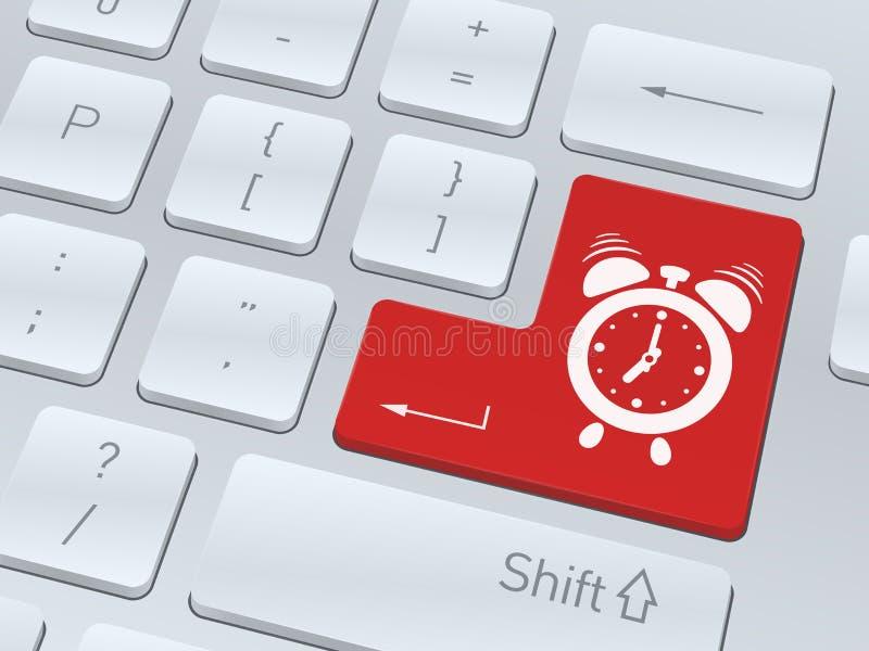 Weckerkonzept auf Knopf der weißen Computertastatur vektor abbildung