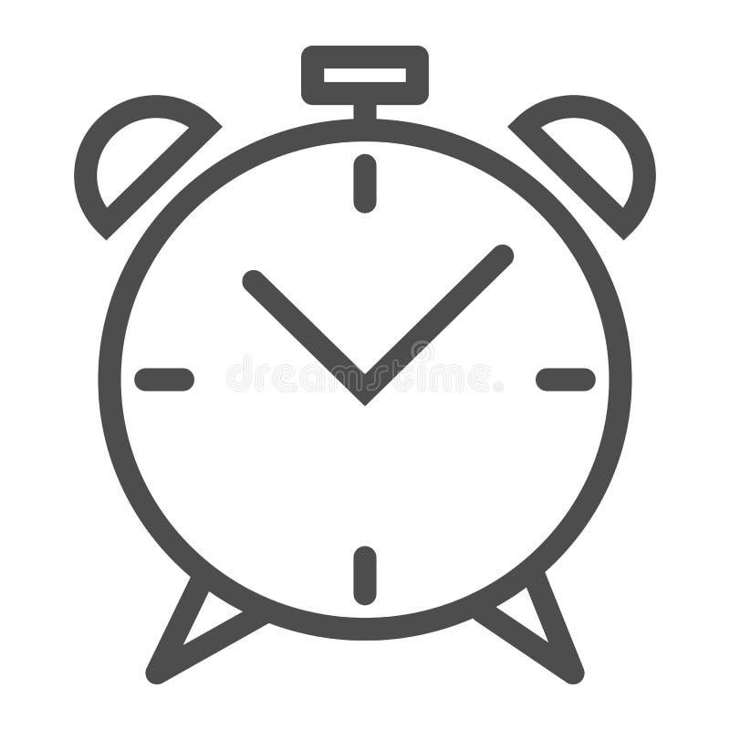 Weckerlinie Ikone Wachen Sie die Zeitvektorillustration auf, die auf Weiß lokalisiert wird Uhrentwurfs-Artdesign, bestimmt für Ne stock abbildung