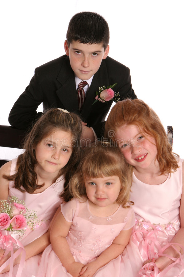 Wed Party kids close. Wedding party three girls brother royalty free stock photography