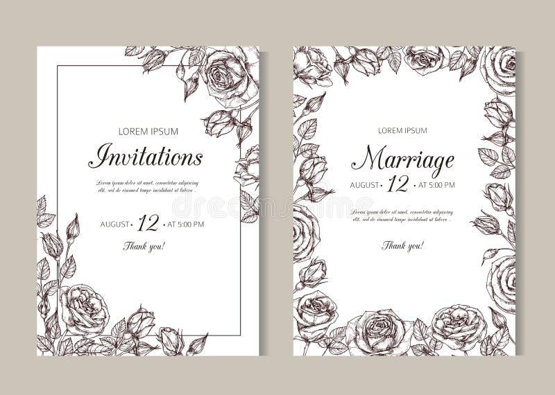 weddding邀请的玫瑰 与玫瑰色框架的手拉的花卉典雅的葡萄酒卡片在维多利亚女王时代的刻记的样式 向量例证