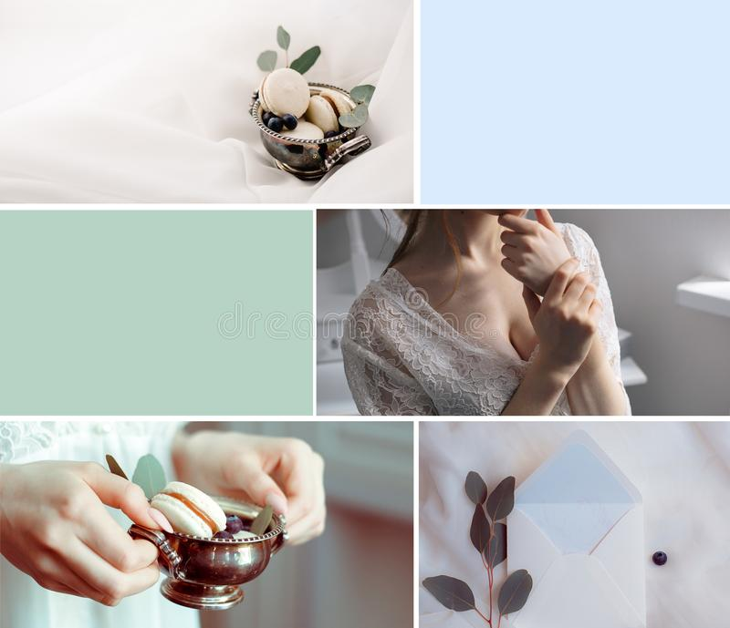 Wedding pastel color collage with bride and decor stock photos