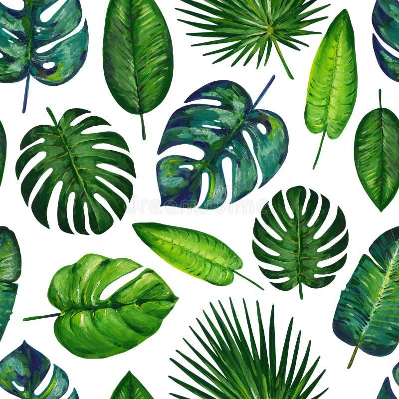 与热带叶子的树胶水彩画颜料无缝的样式 ??2 E 免版税库存图片