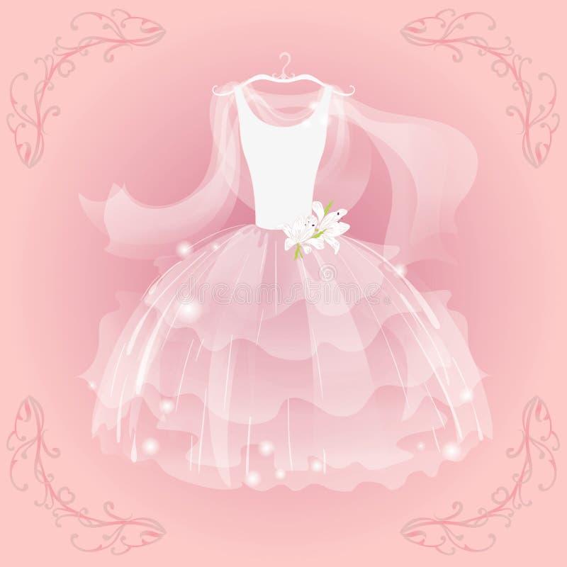 Wedding воздушное платье иллюстрация вектора