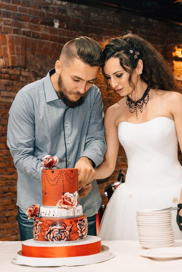 Wedding в стиле утеса Свадьба коромысла или велосипедиста стоковое фото rf