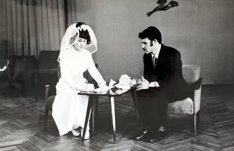 Wedding в 70's в СССР стоковые фотографии rf