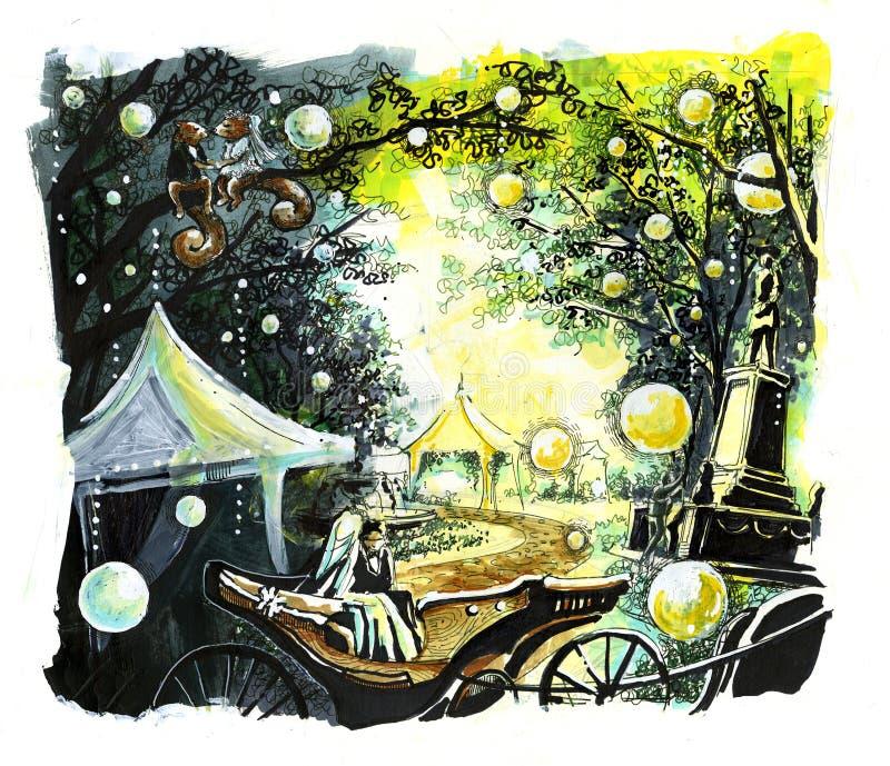 Wedding женатые пары в парке бесплатная иллюстрация