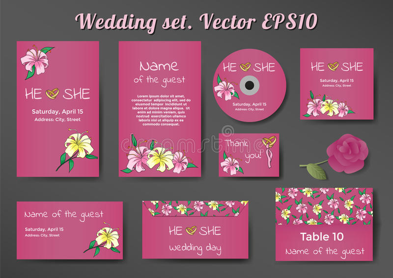 Wedding комплект шаблонов карточек с лилией цветет стоковое изображение rf