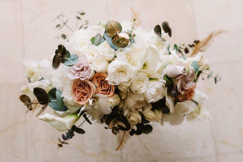 Wedding нежный флористический букет, от верхней части стоковая фотография rf