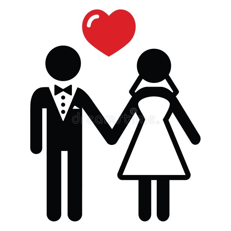 Wedding пожененная икона пар пар иллюстрация вектора