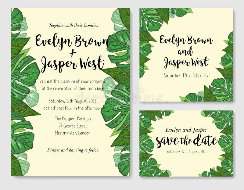 Wedding пригласите, gre вектора карточки rsvp приглашения спасибо флористическое иллюстрация штока