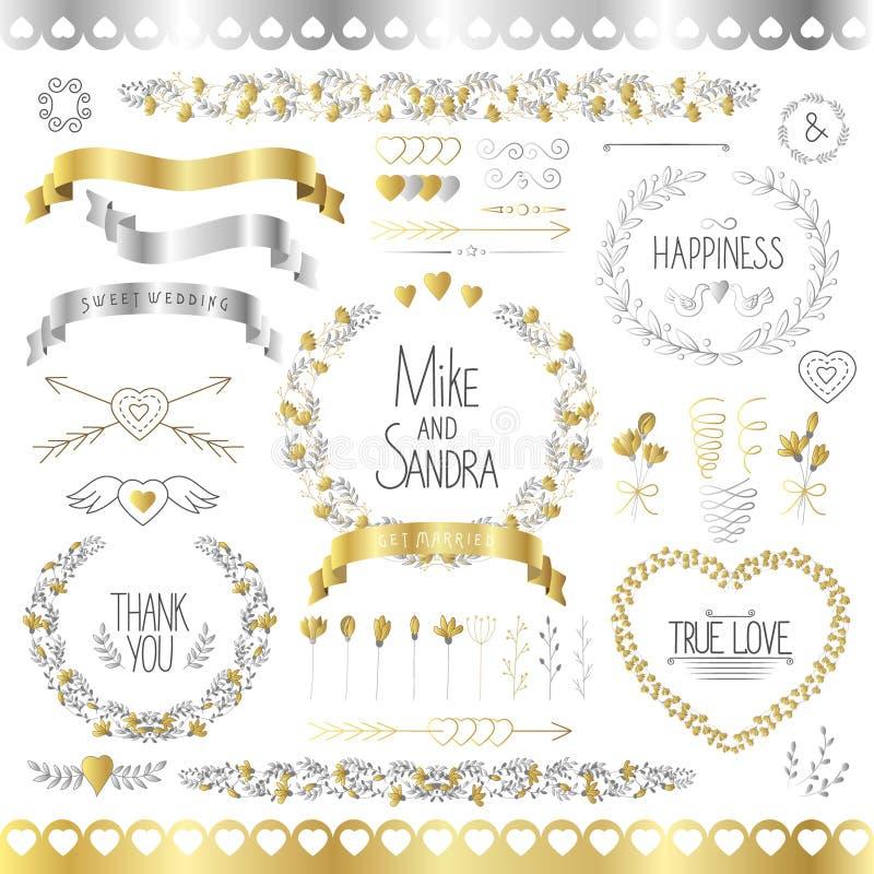 Wedding романтичное собрание с ярлыками, лентами, сердцами, цветками, стрелками, венками, лавром и птицами График установленный в иллюстрация вектора