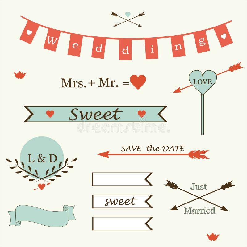 Wedding романтичное собрание ярлыков, лент, сердец, цветков, стрелок, венков вектора лавра. иллюстрация штока