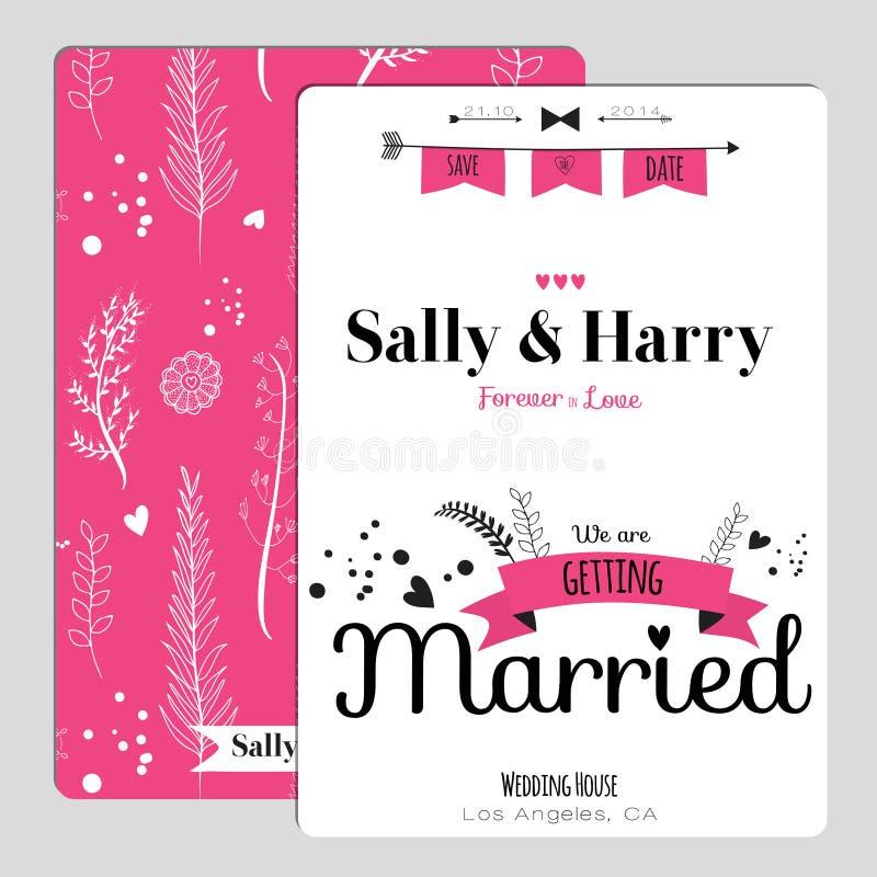 Wedding романтичное флористическое спасение приглашение даты иллюстрация штока