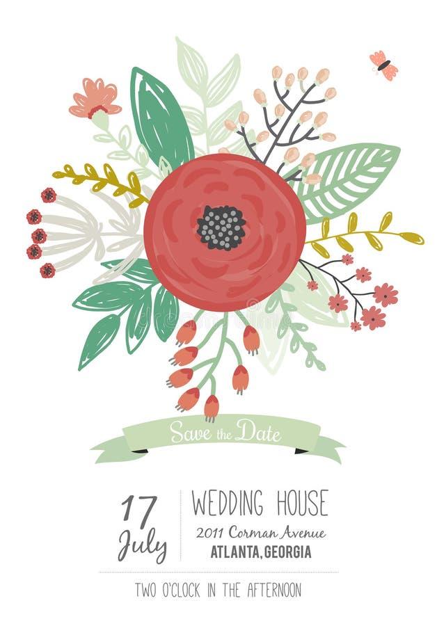 Wedding романтичное флористическое спасение приглашения даты иллюстрация вектора