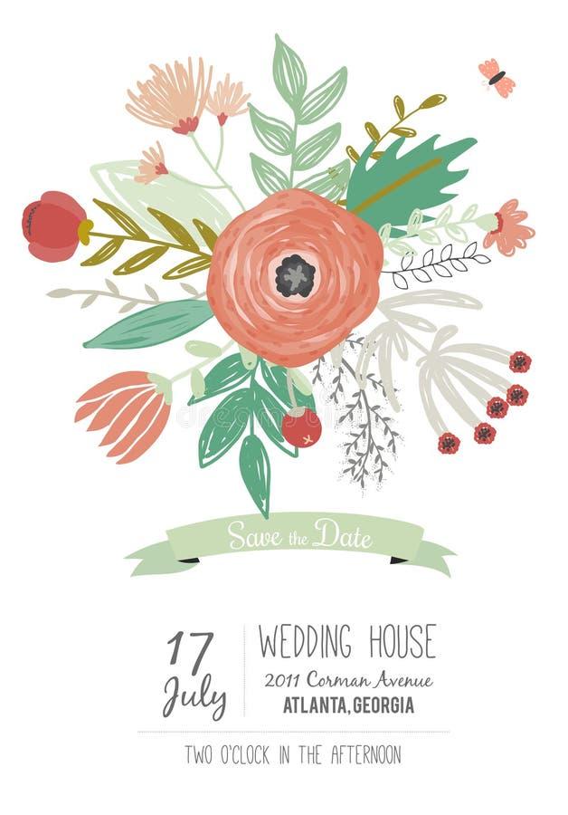 Wedding романтичное флористическое спасение приглашения даты иллюстрация штока