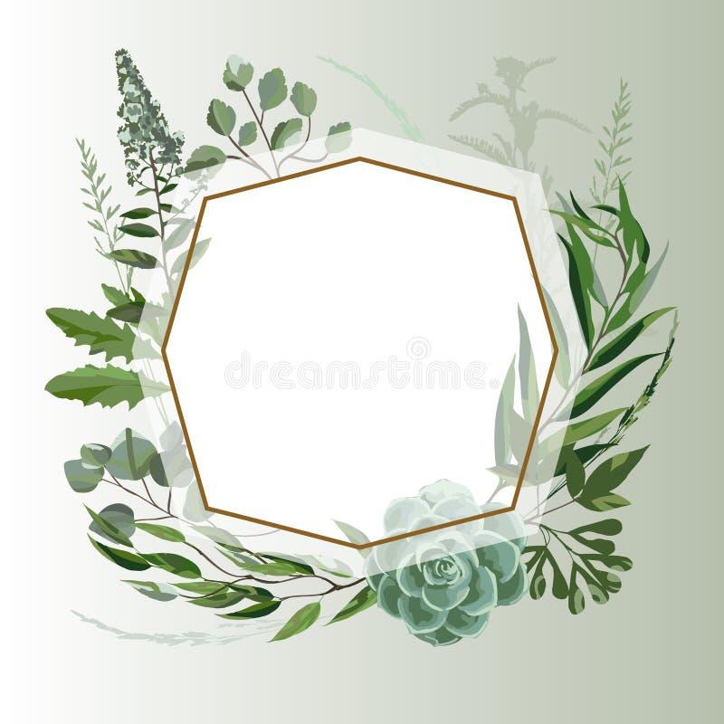 Wedding травяная рамка бесплатная иллюстрация