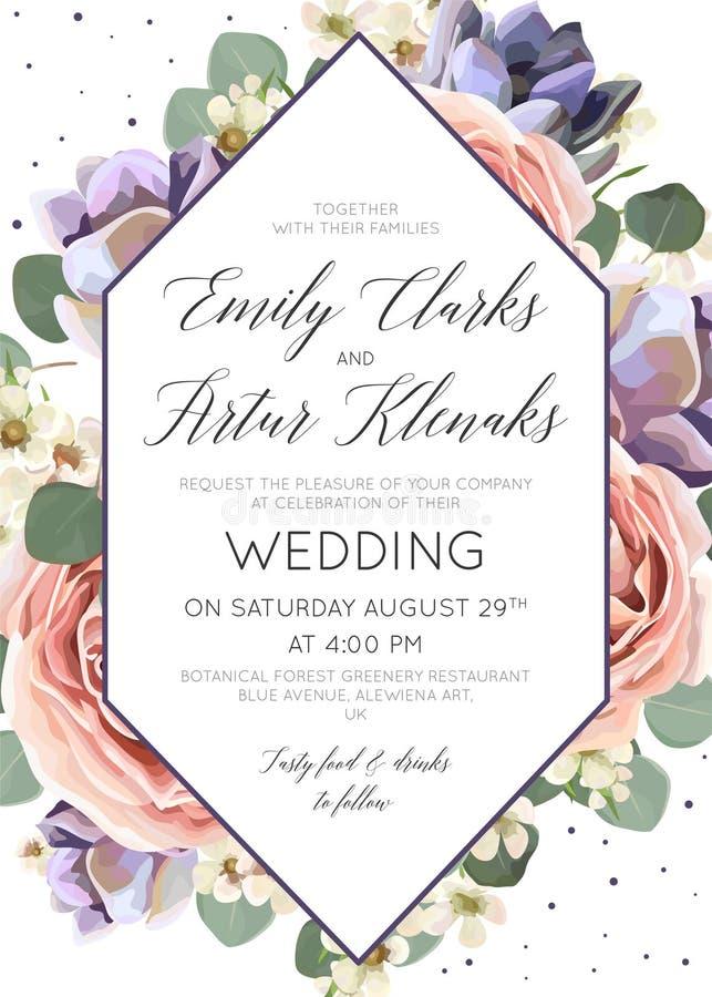 Wedding флористический приглашает, приглашение, сохраняет карточку даты элегантный bo иллюстрация штока