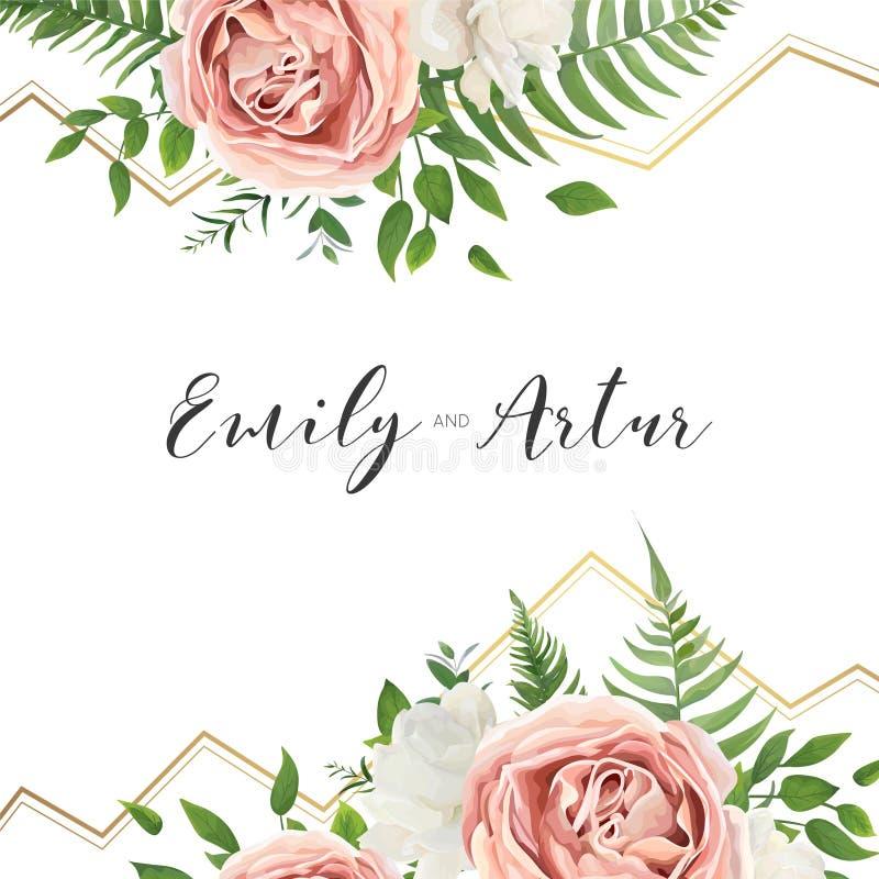 Wedding флористический приглашает, invtation, сохраняет дизайн карточки даты wat бесплатная иллюстрация