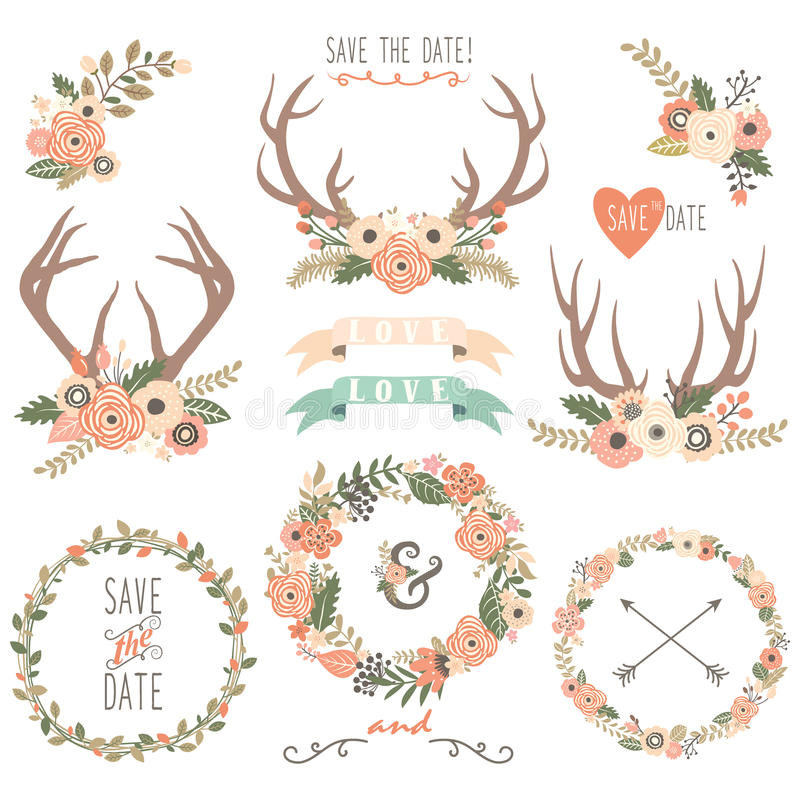 Wedding флористические элементы Antlers бесплатная иллюстрация