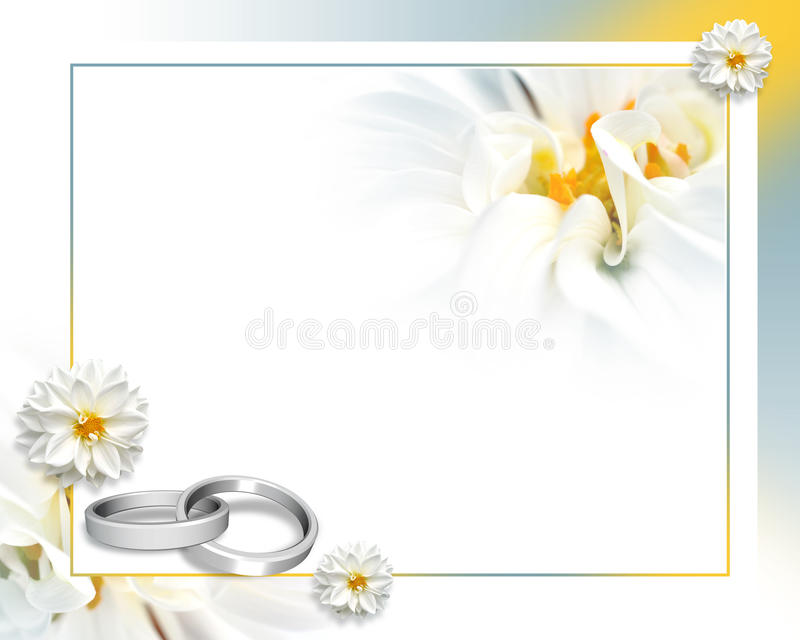 Wedding. Beautiful flower frame with rings