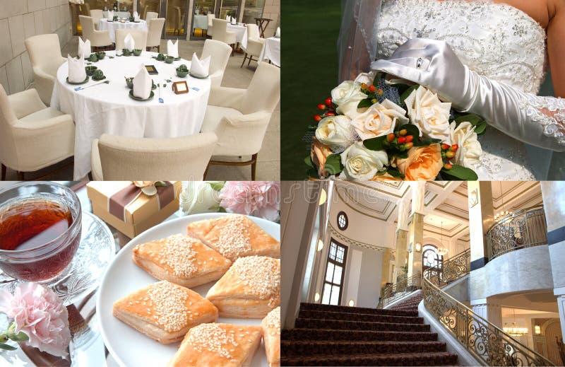 Wedding. 4 photos collage from a wedding stock photo