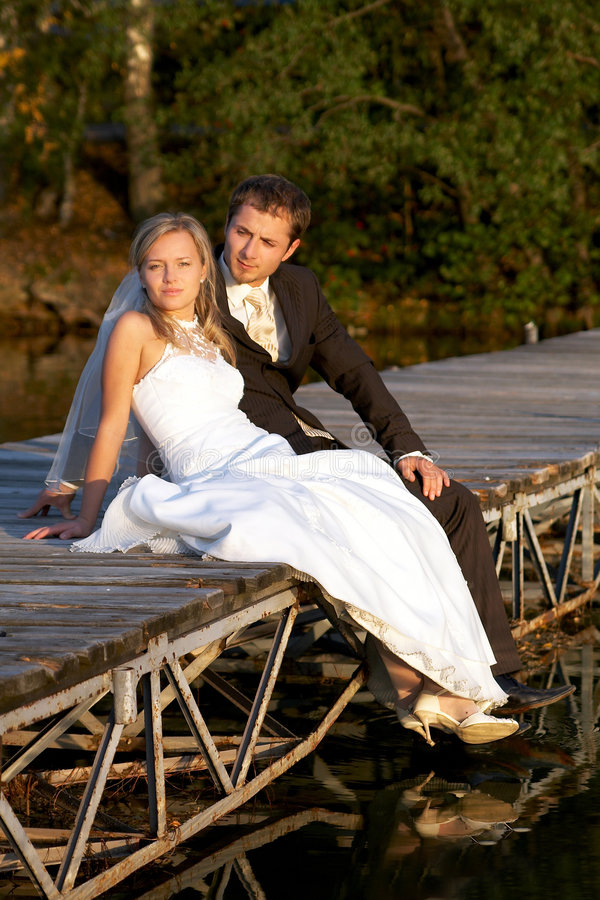 After wedding. Young couple contemplation their love royalty free stock photo
