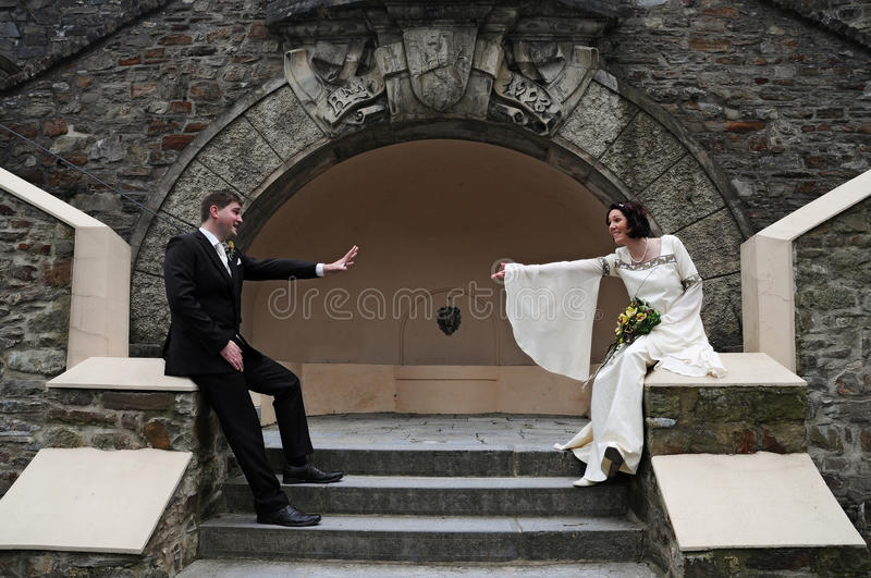 Wedding. In an old castle royalty free stock photo