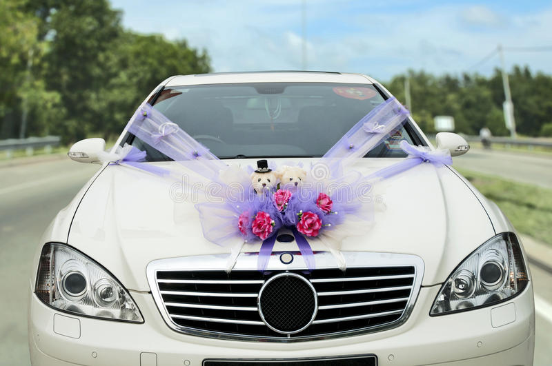Wedding. Car decorated with flowers royalty free stock images