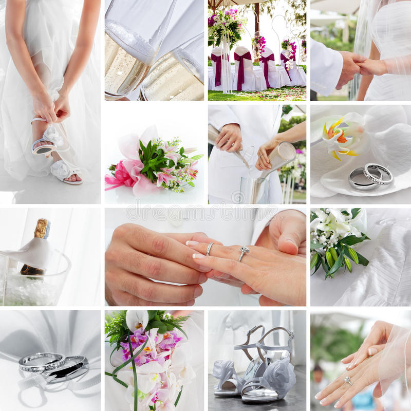 Wedding. Theme collage composed of different images royalty free stock photography