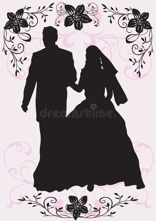 Download Wedding stock vector. Image of couple, people, silhouette - 4487587