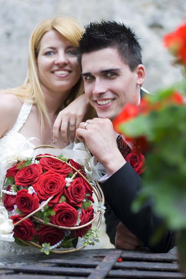 Download Wedding stock image. Image of holding, couple, bouquet - 5355015